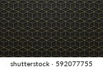 gold line cube abstract... | Shutterstock . vector #592077755