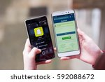 facebook against snapchat ... | Shutterstock . vector #592088672