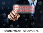 business man pointing hand on... | Shutterstock . vector #592090676