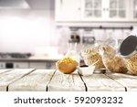 spring breakfast with... | Shutterstock . vector #592093232