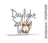 daylight saving time concept... | Shutterstock .eps vector #592094285