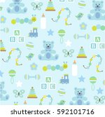 baby boy pattern on blue | Shutterstock .eps vector #592101716