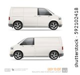 Stock vector blank freight van mini bus template isolated on white hi detailed cargo van for mock up design and 592102418
