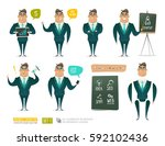cartoon business man character... | Shutterstock .eps vector #592102436