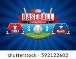 vector of baseball with team... | Shutterstock .eps vector #592122602