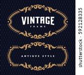 vintage antique frame  ... | Shutterstock .eps vector #592128335