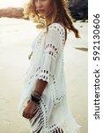 beautiful boho styled model... | Shutterstock . vector #592130606