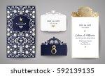 set of wedding invitation... | Shutterstock .eps vector #592139135