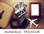 retro camera with empty old... | Shutterstock . vector #592142138