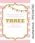 birthday card invitation is... | Shutterstock .eps vector #592146782