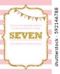 birthday card invitation is... | Shutterstock .eps vector #592146788