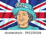 elizabeth ii queen of the... | Shutterstock .eps vector #592150106