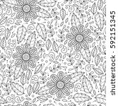 vector monochrome flower... | Shutterstock .eps vector #592151345