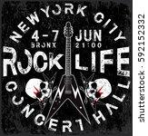 rock poster monochrome hipster... | Shutterstock .eps vector #592152332