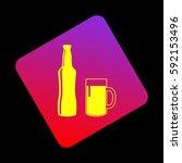 beer bottle sign. vector.... | Shutterstock .eps vector #592153496