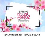 spring sale vector banner... | Shutterstock .eps vector #592154645