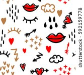 fashion pattern with eyelashes  ... | Shutterstock .eps vector #592159778