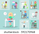 employees work at computers in... | Shutterstock .eps vector #592170968