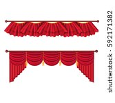red curtains set. two theater... | Shutterstock .eps vector #592171382