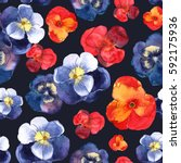 floral seamless pattern with... | Shutterstock . vector #592175936