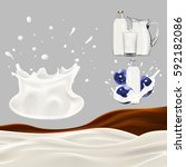 set of splashing and pouring... | Shutterstock .eps vector #592182086