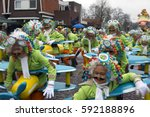 Small photo of OLDENZAAL, NETHERLANDS - FEBRUARY 26, 2017. Group people dress up like air crew during carnival parade.