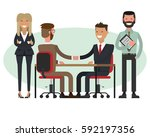 people at work with handshaking ... | Shutterstock .eps vector #592197356