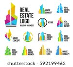 isolated colorful real estate... | Shutterstock .eps vector #592199462
