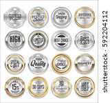 sale luxury silver labels... | Shutterstock .eps vector #592204112