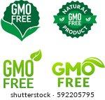 gmo free non gmo food labels... | Shutterstock .eps vector #592205795