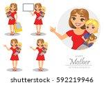 set of illustrations of happy... | Shutterstock .eps vector #592219946