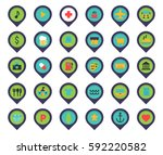 map pins locations set icons... | Shutterstock .eps vector #592220582