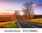 Road Of Autumn Colors. Sunset...