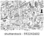 hand drawn business background... | Shutterstock .eps vector #592242602