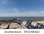 cables in front of a group of... | Shutterstock . vector #592248362
