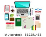set of objects for business... | Shutterstock .eps vector #592251488