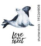 love you sweet  watercolor... | Shutterstock . vector #592264808