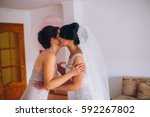 bride and bridesmaids on the... | Shutterstock . vector #592267802