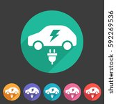electric car icon flat web sign ...   Shutterstock .eps vector #592269536