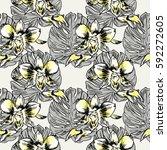 exotic flowers set. botanical... | Shutterstock . vector #592272605