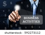 business man pointing hand on... | Shutterstock . vector #592273112