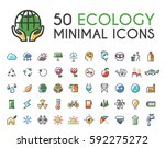 set of 50 minimalistic solid... | Shutterstock .eps vector #592275272