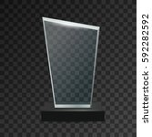 glass transparent trophy award. | Shutterstock .eps vector #592282592