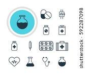 illustration of 12 health icons.... | Shutterstock . vector #592287098