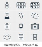 illustration of 12 medicine... | Shutterstock . vector #592287416