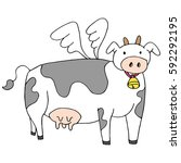 an image of a flying cow... | Shutterstock .eps vector #592292195