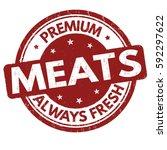 premium meats grunge rubber... | Shutterstock .eps vector #592297622
