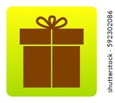gift sign. vector. brown icon...