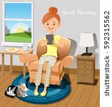 wake up early to check messages ... | Shutterstock .eps vector #592315562