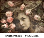 Grungy Image Of Girl And Roses